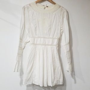 Free People white lace long sleeve mini dress 4